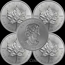 5 x 2018 Canadian 1 oz maple leaf 999.9 Silver Bullion Coin.