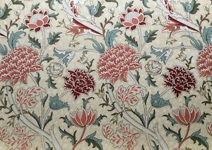 William Morris Curtain Fabric 'Cray' 3.2m Biscuit / Brick 100% Cotton