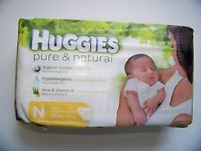 Huggies Pure and Natural Diapers, Newborn, Jumbo, 30 ct (scuff on package)