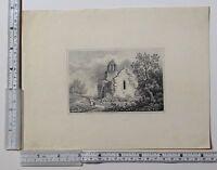 C1860 Antico Originale Schizzo ~ Rovine Di Chiesa