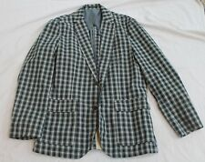 J crew  100% Cotton Blue Green White Plaid Sport Coat Suit Jacket Sz L NWT