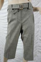 JACQUI E brown tweed look cotton blend 3/4 cropped capris pants size 14 BNWT