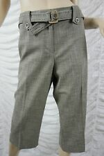 JACQUI E brown tweed look cotton blend 3/4 cropped capris pants size 14 BNWT