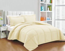 Full Size All Season Down Alternative Comforter Egyptian Cotton Ivory Solid