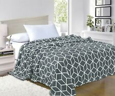 Ultra Super Soft Cube Design Fleece Luxury BLANKET All Sizes - 7 colors