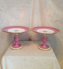 Antique Pair - Pink Footed Compote Pedestal Cake Plate, TC Brown-Westhead Moore