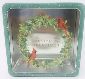 "Holiday Decorative Tin Christmas Food Storage Food Safe Square 8.5""x8.5""x2.5"""