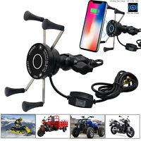 10W Qi Wireless Fast Charger Power Charging Motorcycle Phone Holder Mounts Stand