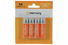 4 x MERCURY AA 1300mAh NiMH High Capacity Rechargeable Batteries