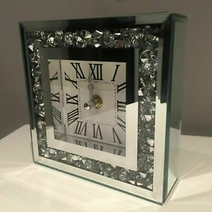 15cm LOOSE DIAMANTE MANTLE TABLE CLOCK ROMAN NUMBER MIRRORED MANTEL CLOCK NEW