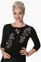 Dancing Days Banned Delilah Cardigan 50s Black Pinup Peep Hole Rose Roses XS-XL