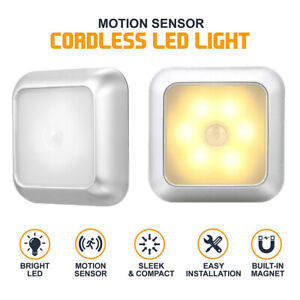 Motion Sensor Light 6LED Wireless Battery Operated Night Lamp for Cabinet Stairs