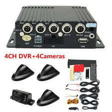 4CH Vehicle Car Mobile DVR Realtime Video Recorder SD + 4 Cameras + Cable Remote