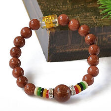 Colorful Tibetan OM Mani 16 8mm Energy Goldstone Prayer Beads Mala Bracelet