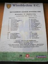 06/04/2002 Colour Teamsheet: Wimbledon v Bradford City (Folded, Writing On Front