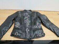 Echtes Leder ladies leather biker jacket dancing people artwork Size S