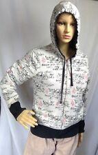 Volcom womens hoodie full zip reversible white/black writing pattern distressed