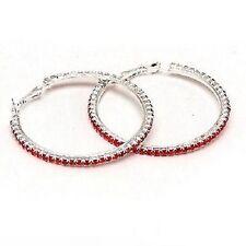 Red Diamonte / Diamante 1 Row Hoop Earrings 3cm - NEW!!!