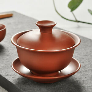 China tureen zisha red clay gaiwan Chinese covered bowl with cup saucer lid new