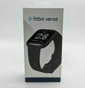 Fitbit Versa Activity Tracker Smartwatch Black Band Aluminum Casing - SH1385