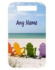 BEACH CHAIRS BAG TAG Personalized For Luggage Bags Backpacks 2 Sides Printed