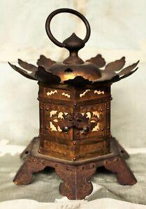 Meiji Period Japanese Gilded Copper Votive Lantern (Tsuri-doro) c. 1910
