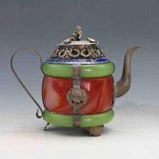 Chinese Handwork Old Jade bracelet inlayTibet Silver dragon teapot &Monkey Lid