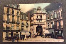 CPA. CAUTERETS. 65 - La Place Saint Martin. Hôtel du Parc. 1907. Coiffeur.