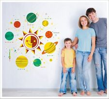 Kids Removable Vinyl Wall Stickers -- Solar System Smiley Sun SA-12-055