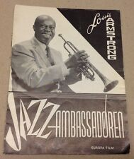 """""""Satchmo The Great"""" Louis Armstrong Morrow Old Danish Vtg Original Movie Program"""