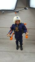 Vintage Action Man Flocked Blonde Hair Helicopter Pilot & Turbo Copter
