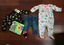 5 PIECE-NEW TRUE RELIGION Baby Girl STAR SWEATSHIRT & JEANS 6M/12M + PJs & Book