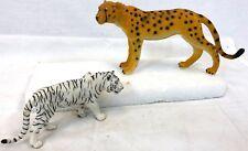 Vintage 2002 CHINA Pair Cheetah Siberian White Tiger Cat Educational Toy Figures