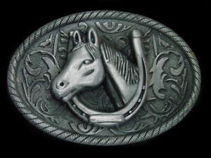 UC07130 *NOS* GREAT **HORSE & HORSESHOE** WESTERN & COWBOY BELT BUCKLE