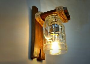 Handmade wall light of wood and a beer glass, wooden sconce, pub style