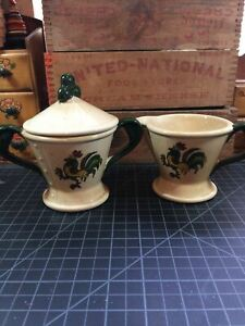 Vintage Poppy Trail Metlox Sugar And Cream Set Rooster Art Pottery