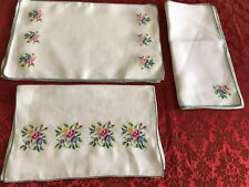 More details for vintage linen cross stitched table runner , napkins and placemats 17 pieces fab