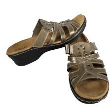 Clarks Bendables Size 8.5M Wedge Bronze Metallic Slip On Sandals 65785