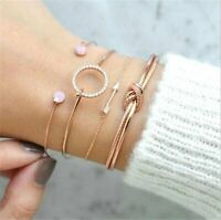 4Pcs/Set Womens Gold Arrow Knot Crystal Round Opening Bangle Chain Bracelet 2020