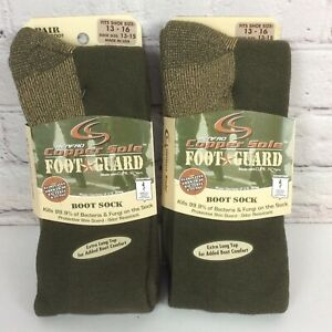 Renfro Copper Sole Foot Guard Boot Sock Shoe Sz 13-16 Military Green Made In USA