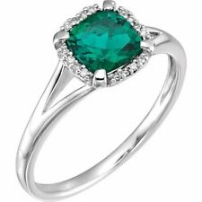 14kt White Gold Created Emerald and .05 CTW Genuine Diamond Ring Size 7
