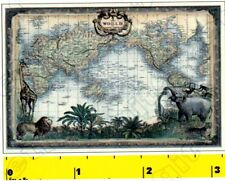 Miniature    VICTORIAN WORLD MAP Print  - Dollhouse  1:12 scale