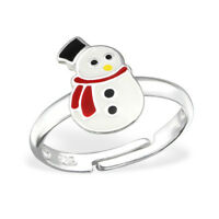 Childrens Girls 925 Sterling Silver Snowman Ring Adjustable Christmas Boxed