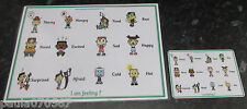 NEW **Emotions / feelings A4 Poster OR handy size cards 13.5cm x 9.5cm ** Autism