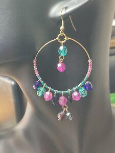 Pretty antique gold-tone beaded hoop earrings (pierced) E006