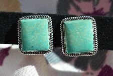 Magnificent Navajo Sterling Silver Light Blue/Green Turquoise PostBack Earrings