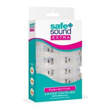 Safe & Sound Extra 7 Day Pill Box with 14 Separate AM-PM Compartments Easy Open