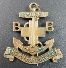 "Vintage Boys Brigade Pin Badge ""Sure & Stedfast"" Legend on Anchor, 40mm Inc pin"