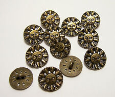 "12 Round Sun Face Metal Buttons - 5/8"" for Sewing Projects, Crafts and more!"