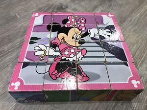 Vintage Disney Mickey & Minnie Mouse, Goofy & Pluto Wood Puzzle Blocks Set
